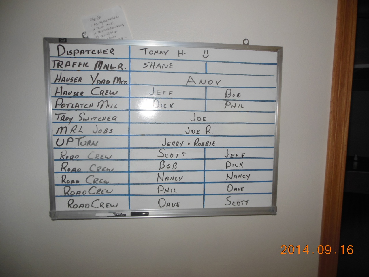 Saturdays call board